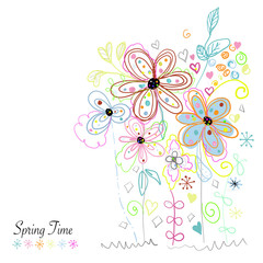 Spring time daisies. Daisy and lady bird greeting card background