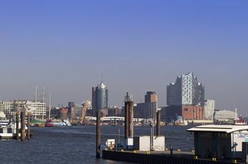 Panoramic view of Harbor City Hamburg with elbphilharmonic concert hall