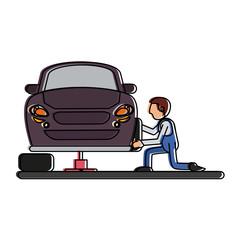worker changing car tire workshop icon image vector illustration design