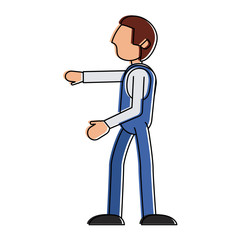 man avatar wearing overall sideview icon image vector illustration design