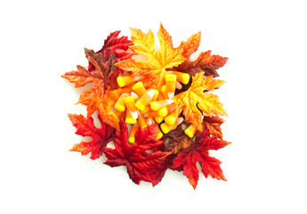 candy corn with colorful autumn leaves isolated on white