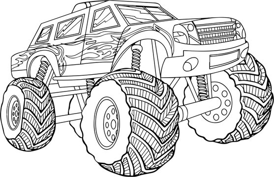 black and white vector illustration of car on white background. isolated picture
