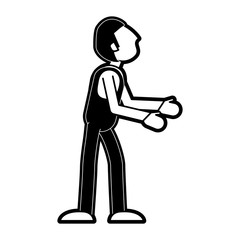 man avatar wearing overall sideview icon image vector illustration design  black and white