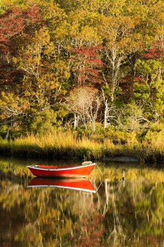Red dory moored in still inlet on Cape Cod with autumn trees in background, reflected in water