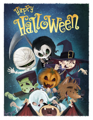 niños monstruos de halloween