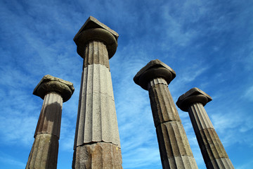 Athena Temple columns in Behram (Assos), Canakkale, Turkey
