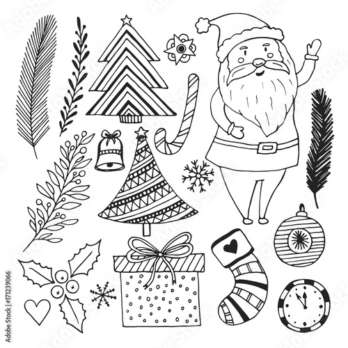 happy new year sketch doodle set christmas coloring book page cute santa claus