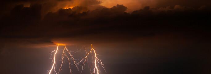 Thunder, lightnings and rain at summer night