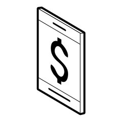 cellphone with dollar sign money related icon image vector illustration design  black and white