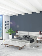 Vertical Bedroom Minimal or Loft style Interior Design. 3D Rendering. Concept idea.