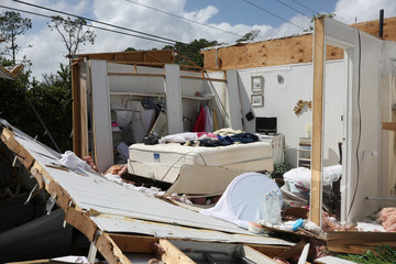 A bedroom is seen in a mobile housing park after the passing of Hurricane Irma in Naples, Florida