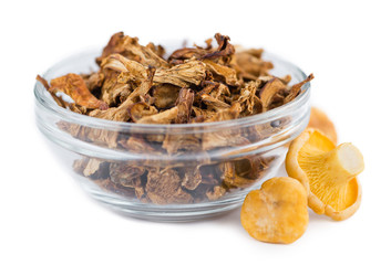 Dried Chanterelles isolated on white background