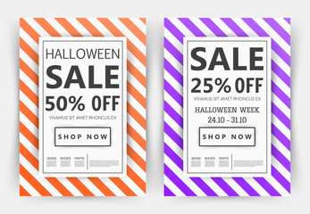 Seasonal sale background with elegant orange, purple and white colour. Vector illustration template, banners, web, flyers, invitation, posters, brochure, voucher discount. Up to 25 - 50% off design.