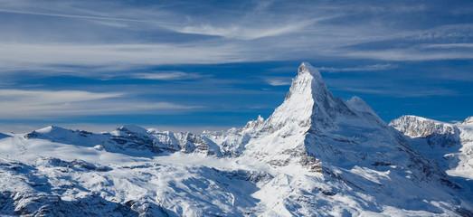 Matterhorn in February above Zermatt in Switzerland