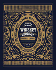 Old Whiskey label with vintage frame