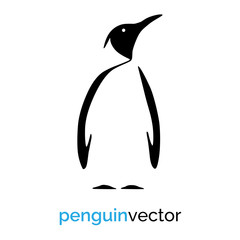 Black penguin icon on white background. Vector graphic.