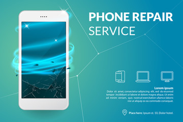 Phone repair service banner template. Smartphone with broken screen on blue background. Repairing electronics. Advertising concept. Vector eps 10. Wall mural
