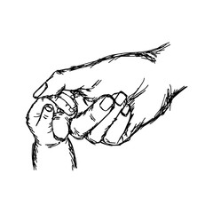 close-up hand of baby and mother holding together vector illustration sketch hand drawn with black lines, isolated on white background. Family concept