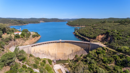 Aerial. The dam Odiaxere, Bravura water storage, in south of Portugal.