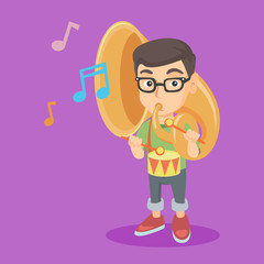 Caucasian kid playing the tuba and the drum. Little boy playing the tuba. Young cheerful boy playing the drum with drumsticks. Vector sketch cartoon illustration. Square layout.