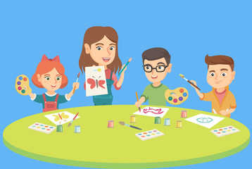 Little caucasian children drawing with teacher at preschool class. Children with teacher painting at the table in kindergarten. Vector sketch cartoon illustration. Square layout.