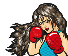 Girl boxing pop art comic stock vector