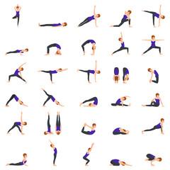 Woman Doing Yoga Poses Illustration