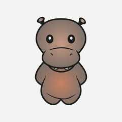 Hippo cartoon. Hippopotamus. Animal. Sample for soft toys. Print for clothes, t-shirts. Vector illustration.