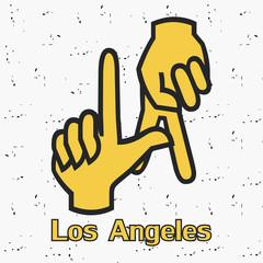 Los Angeles. LA. Hands gesture. Design clothes, t-shirts. Graphics for print. Vintage background. Vector illustration.