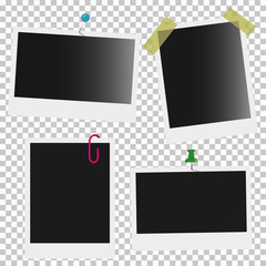 Empty photo frames with pins. Vector illustration.