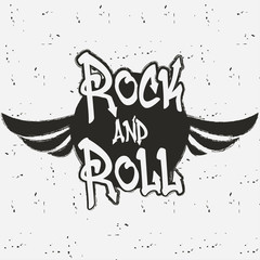 Rock and roll. Rock music graphic for print. Design clothes, t-shirts, logo. Vintage background. Vector illustration.
