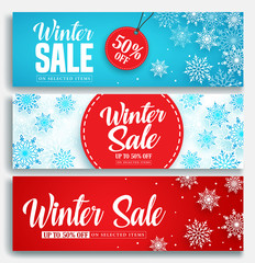 Winter sale vector banner set with discount text and snow elements in blue and red snowflakes background for marketing promotion. Vector illustration.
