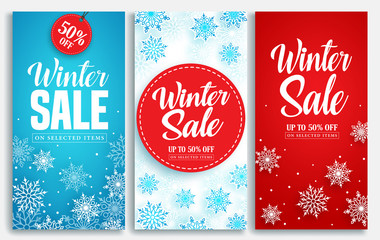 Winter sale vector poster or banner set with discount text and snow elements in blue and red snowflakes background for shopping promotion. Vector illustration.