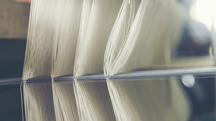 old weaving loom - closeup - photo, vintage filter image