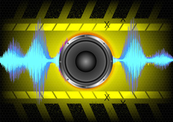 Abstract background. speakers and sound waves