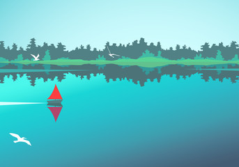 Vector landscape with lake, forest and boat