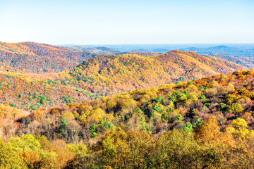 Shenandoah National Park forest mountains, hills and ridge in Virginia during autumn with golden foliage