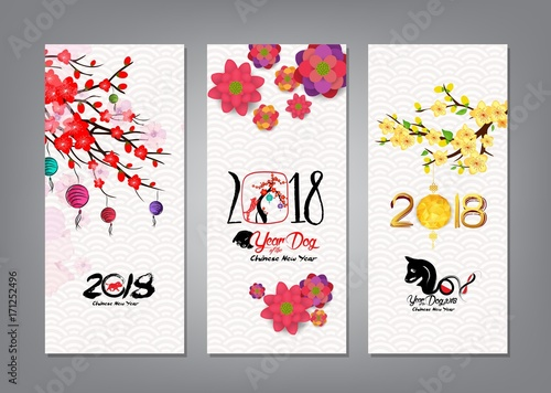 vertical hand drawn banners set with chinese new year 2018 hieroglyph dog