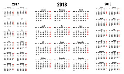 simple vector calendars for 2018 and 2017 2019 years, monday first, red sunday