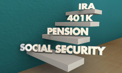 Retirement Savings Social Security Pension 401K IRA 3d Illustration
