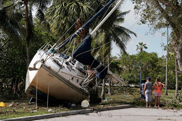Wrecked boats that have come ashore are pictured in Coconut Grove following Hurricane Irma in Miami, Florida