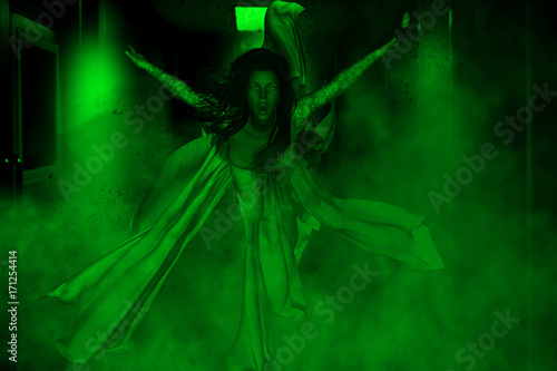 3d illustration of ghost bride in haunted house,Horror