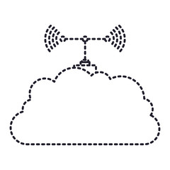 cloud service and transmission antenna icon in dotted silhouette vector illustration