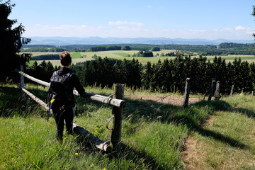 female hiker enjoying view in the Black Forest