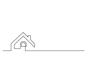 one line logo design of real estate house market agency