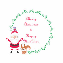 Christmas round floral frame with the image of a cute woodland animals and Santa. Vector background.