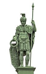 Statue of the Roman god of war Mars (Ares) with armor of ancient Roman warrior