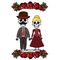 two skeletons with flowers