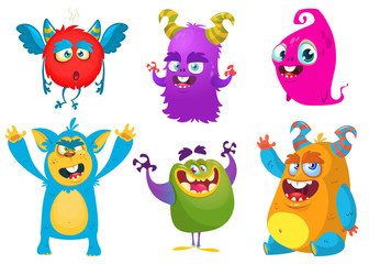 Cartoon Monsters. Vector set of cartoon monsters isolated. Design for print, party decoration, t-shirt, illustration