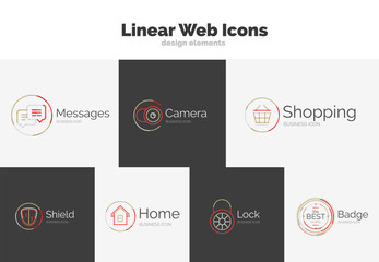 Set of web linear icons